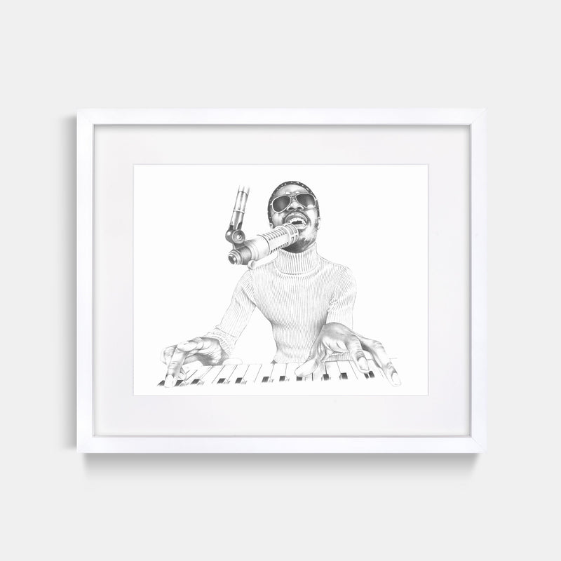 Stevie Wonder Hand Drawn Illustration in Recording Studio With White Gallery Frame