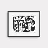 Abstract art line drawing illustration print by Yada Studio with black frame