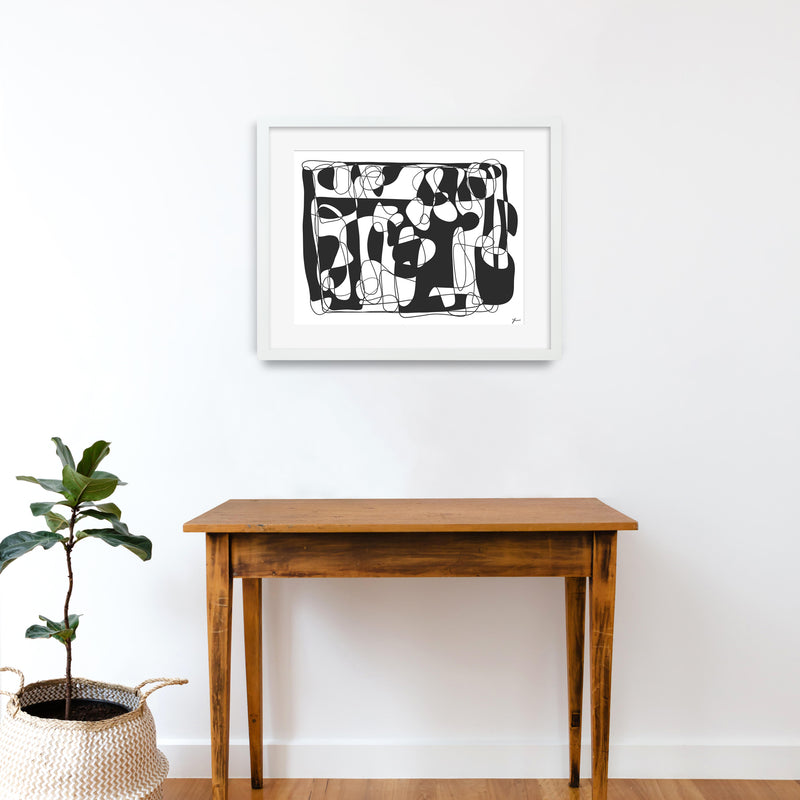 Abstract art line drawing illustration print by Yada Studio with white frame