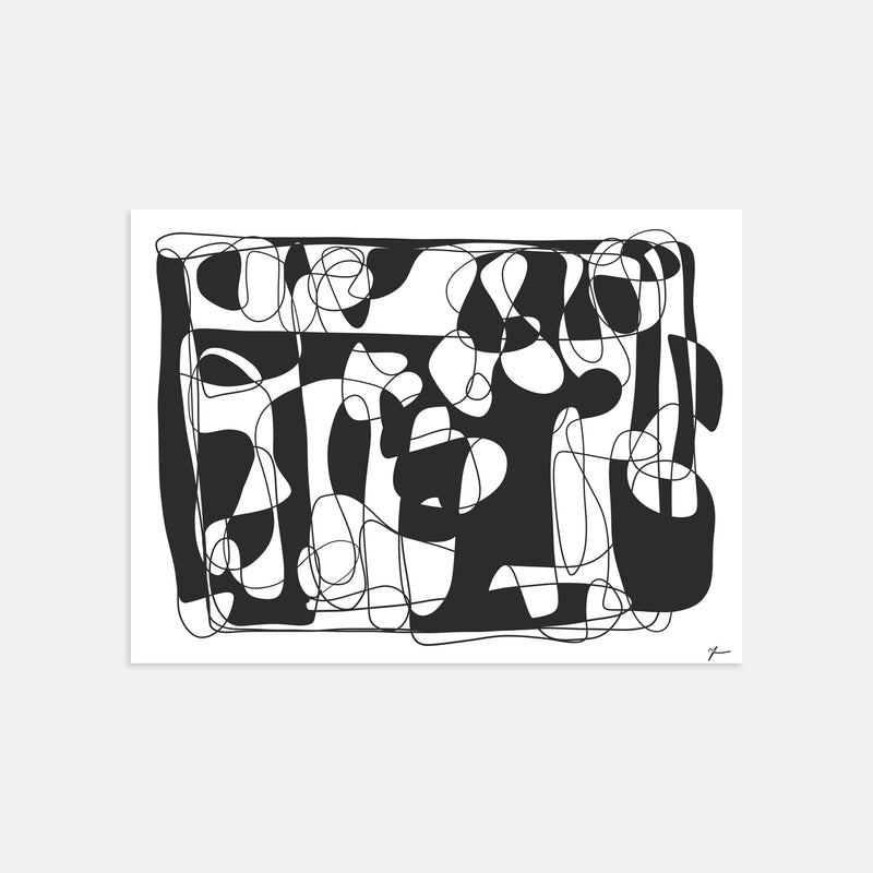 Abstract art line drawing illustration print by Yada Studio