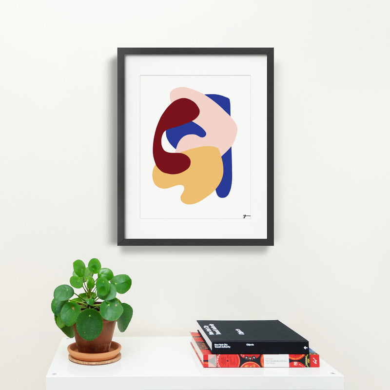 Abstract art illustration print by Yada Studio with black frame
