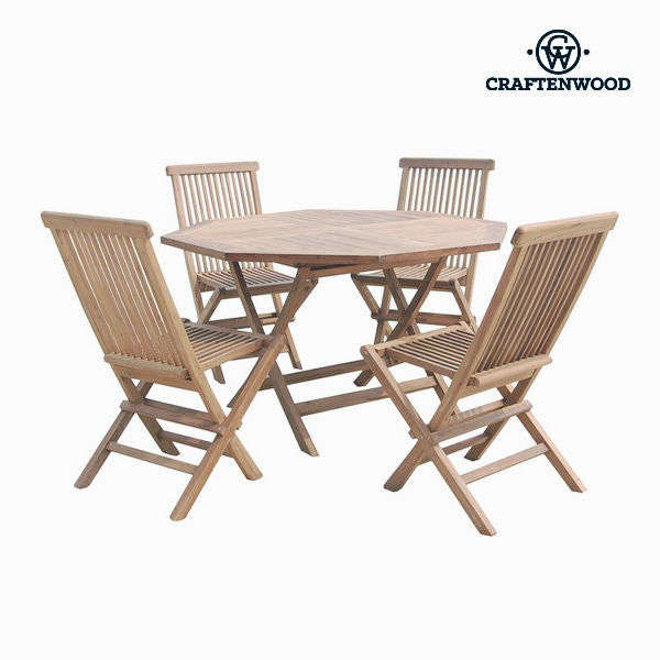 Table set with 4 chairs Teak Octagonal by Craftenwood