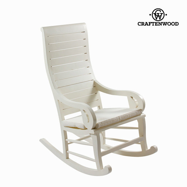 Rocking Chair Teak White (113 x 110 x 55 cm) by Craftenwood