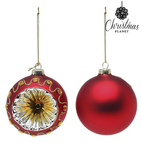 Christmas Baubles Christmas Planet 1662 8 cm (2 uds) Crystal Red