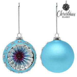 Christmas Baubles Christmas Planet 1693 8 cm (2 uds) Crystal Blue