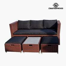 Load image into Gallery viewer, Sofa and Pouf Set (4 pcs) Rattan Brown Black