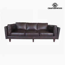 Load image into Gallery viewer, 3-Seater Sofa Pine Polyskin Brown (228 x 92 x 80 cm) by Craftenwood