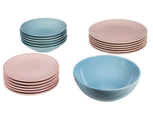 Tableware (19 pcs) China crockery Blue Pink