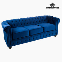 Load image into Gallery viewer, 3 Seater Chesterfield Sofa Velvet Blue - Relax Retro Collection by Craftenwood