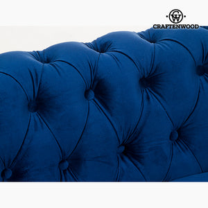 3 Seater Chesterfield Sofa Velvet Blue - Relax Retro Collection by Craftenwood