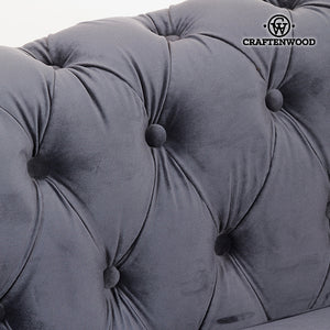 3 Seater Chesterfield Sofa Velvet Grey - Relax Retro Collection by Craftenwood