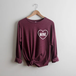 Wine Heart Pocket Long Sleeve