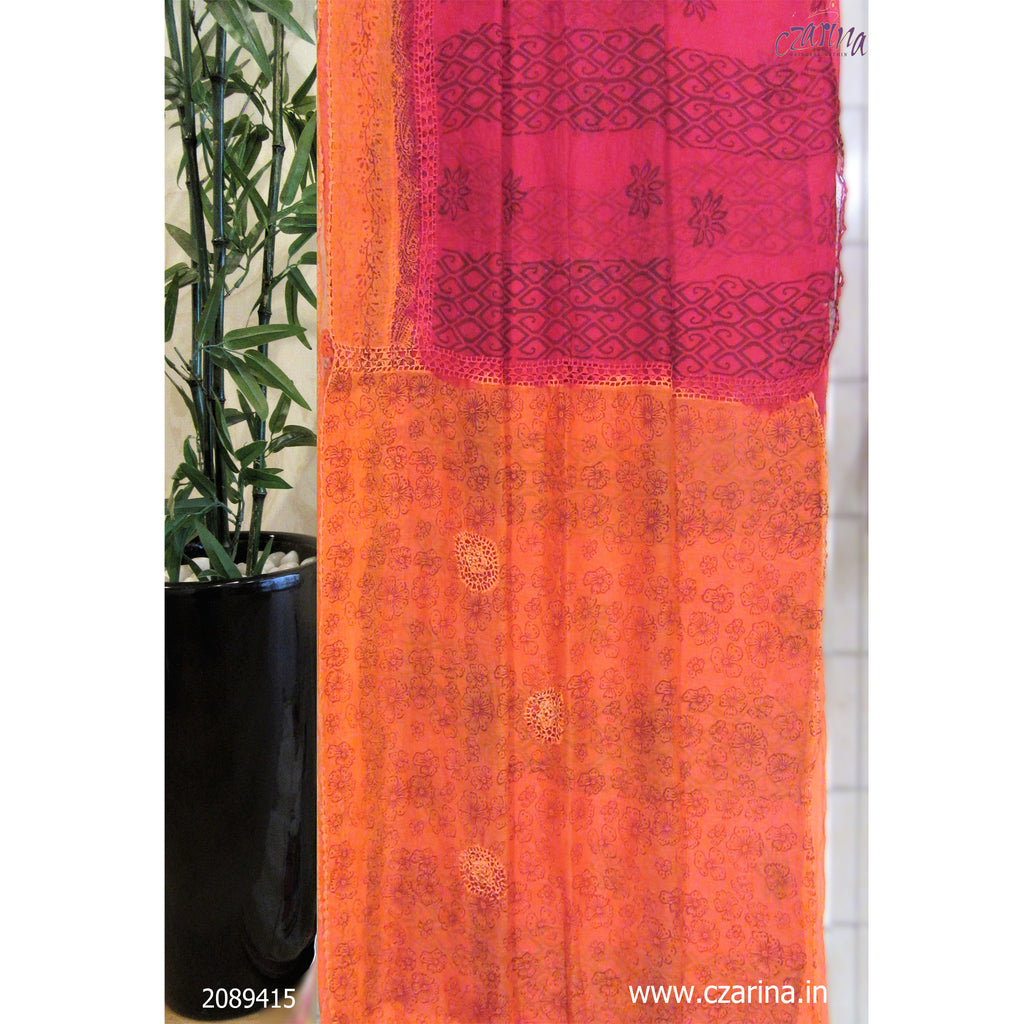 PINK ORANGE CROCHET WORK PRINTED KOTA SAREE