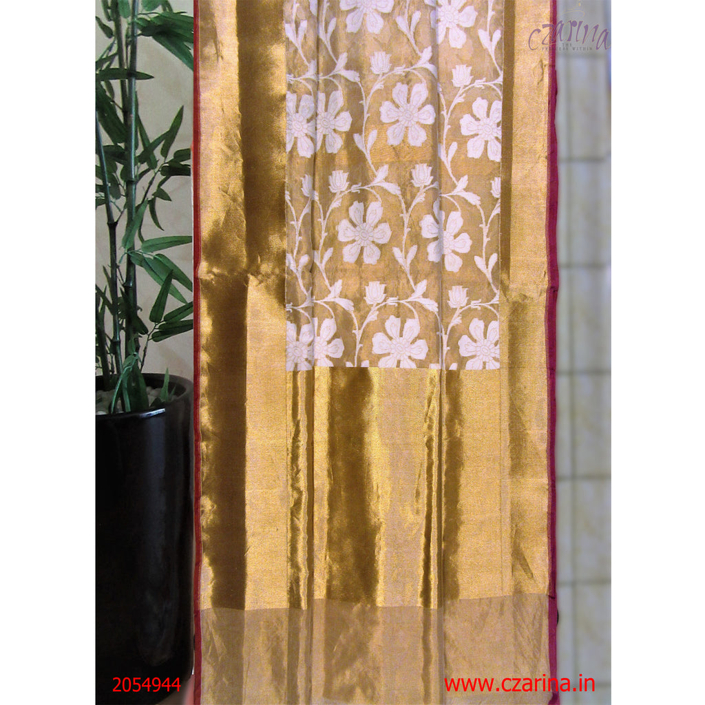 OFF WHITE GOLDEN PURE BANARASI SILK SAREE