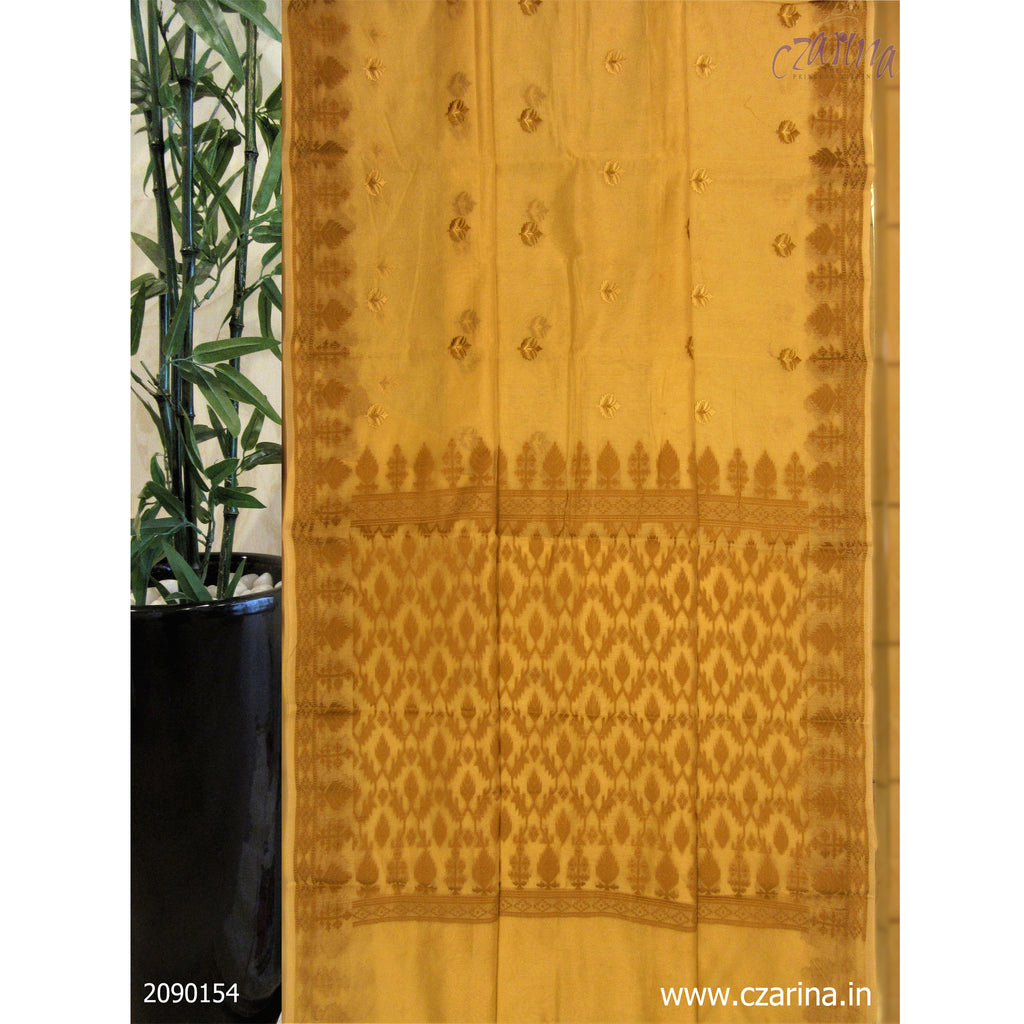 OFF WHITE BEIGE EMBROIDERED KOTA SAREE