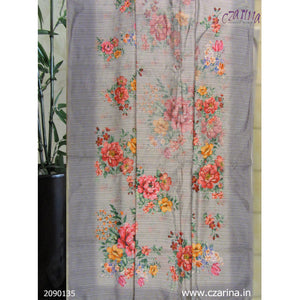 GREY PINK YELLOW PRINTED LINEN SAREE