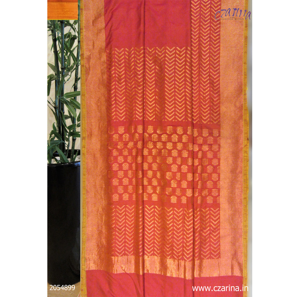 ORANGE GOLDEN BANARASI SILK SAREE