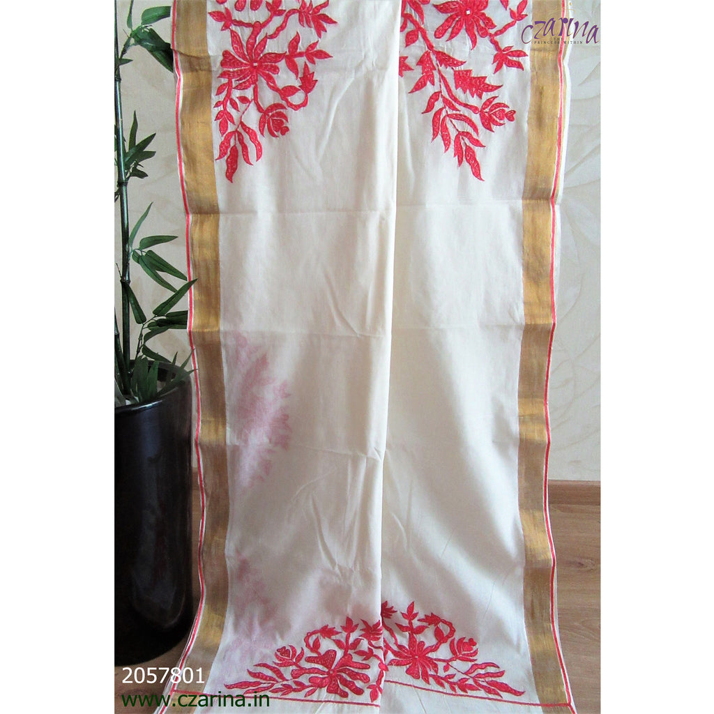 OFF WHITE RED EMBROIDERED COTTON KERALA SAREE