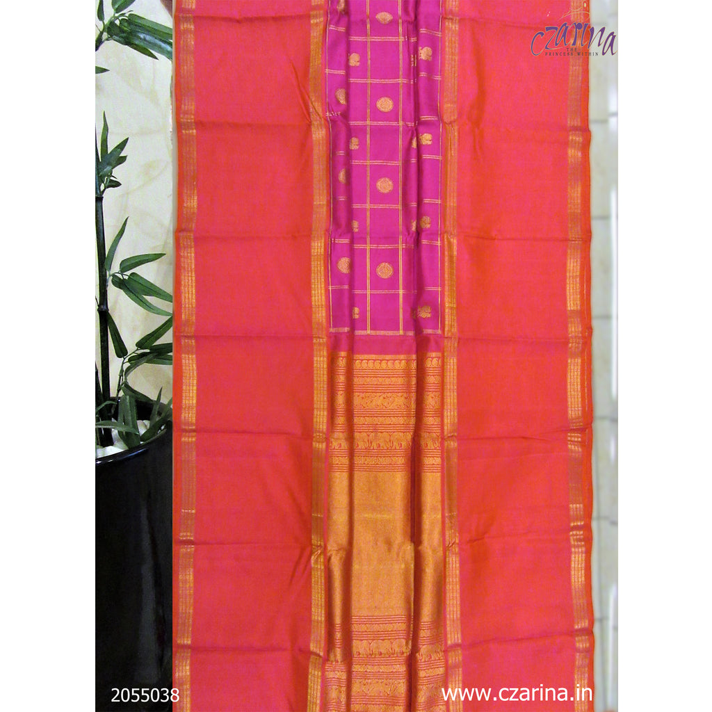 RED PINK PURE KANCHIPURAM SILK SAREE