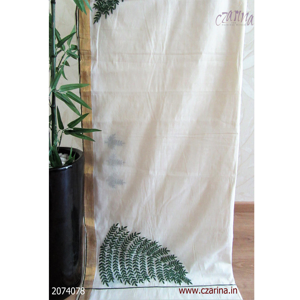 OFF WHITE GREEN EMBROIDERED COTTON KERALA SAREE