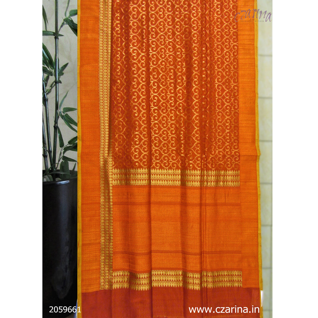 RED ORANGE PURE BANARASI SILK SAREE