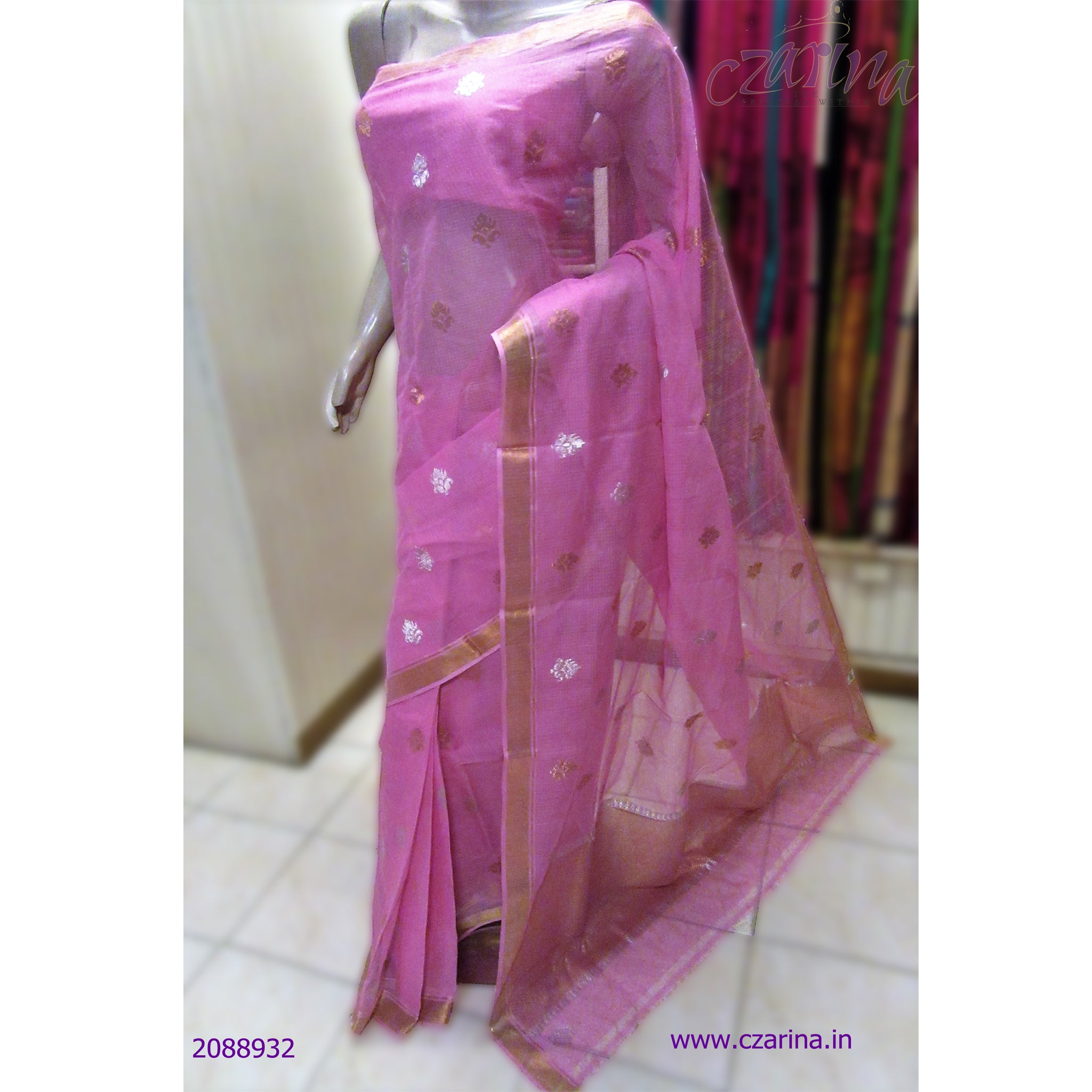 PINK GOLDEN BORDER PURE ZARI KOTA SAREE