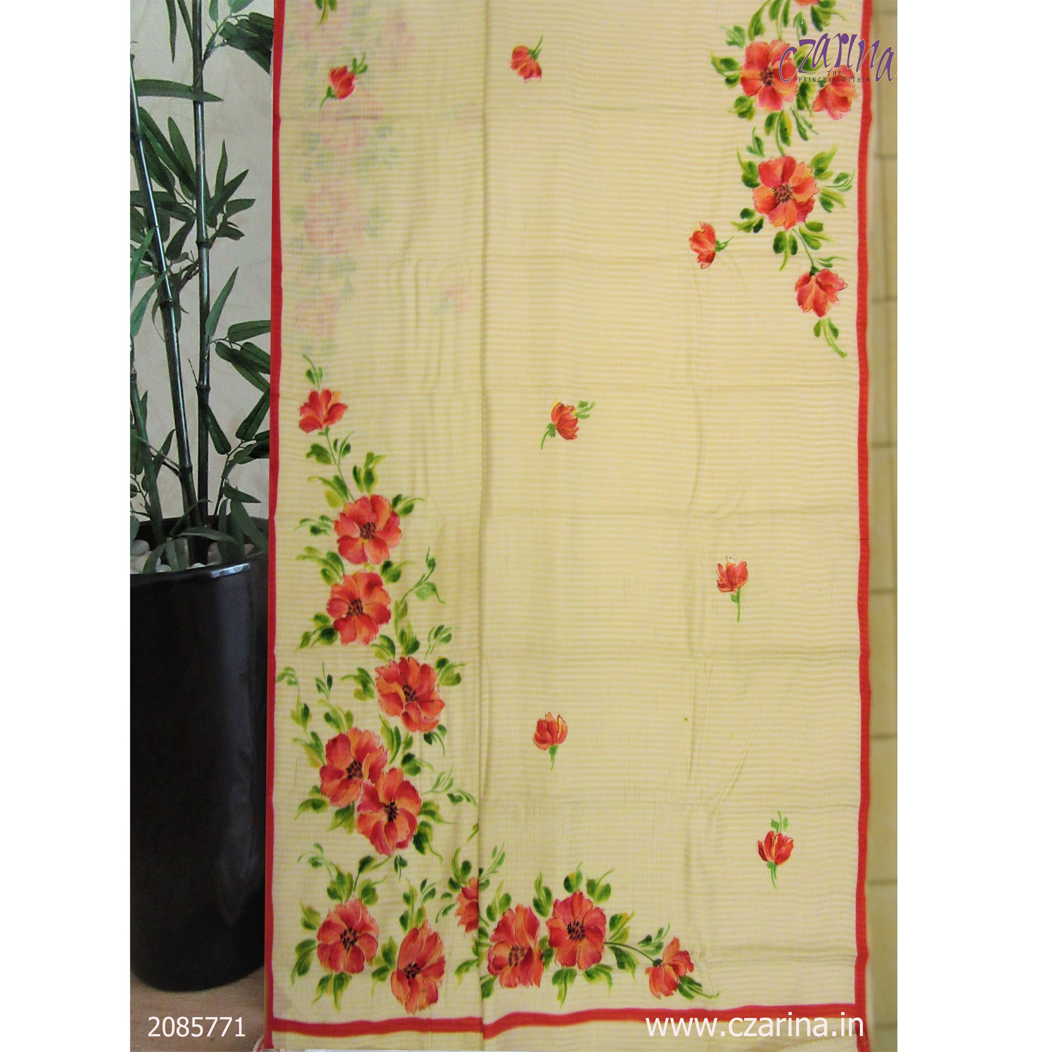 CREAM RED FLORAL PRINTED TUSSAR SILK SAREE
