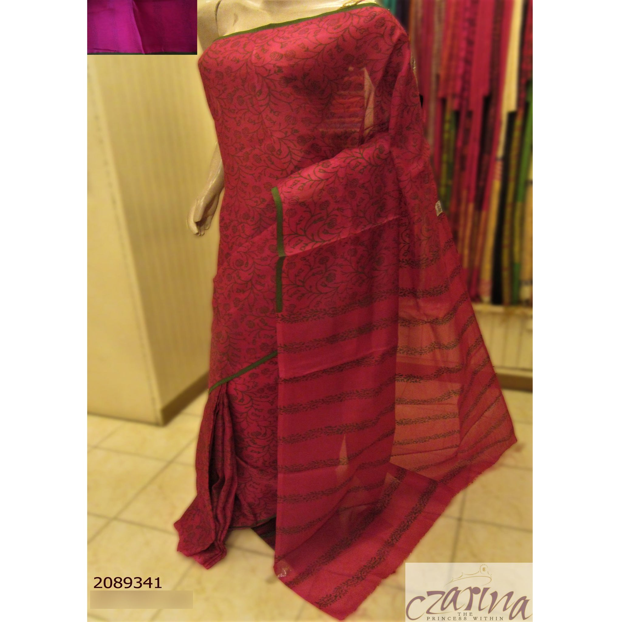 PINK GREEN PRINTED ORGANZA SAREE