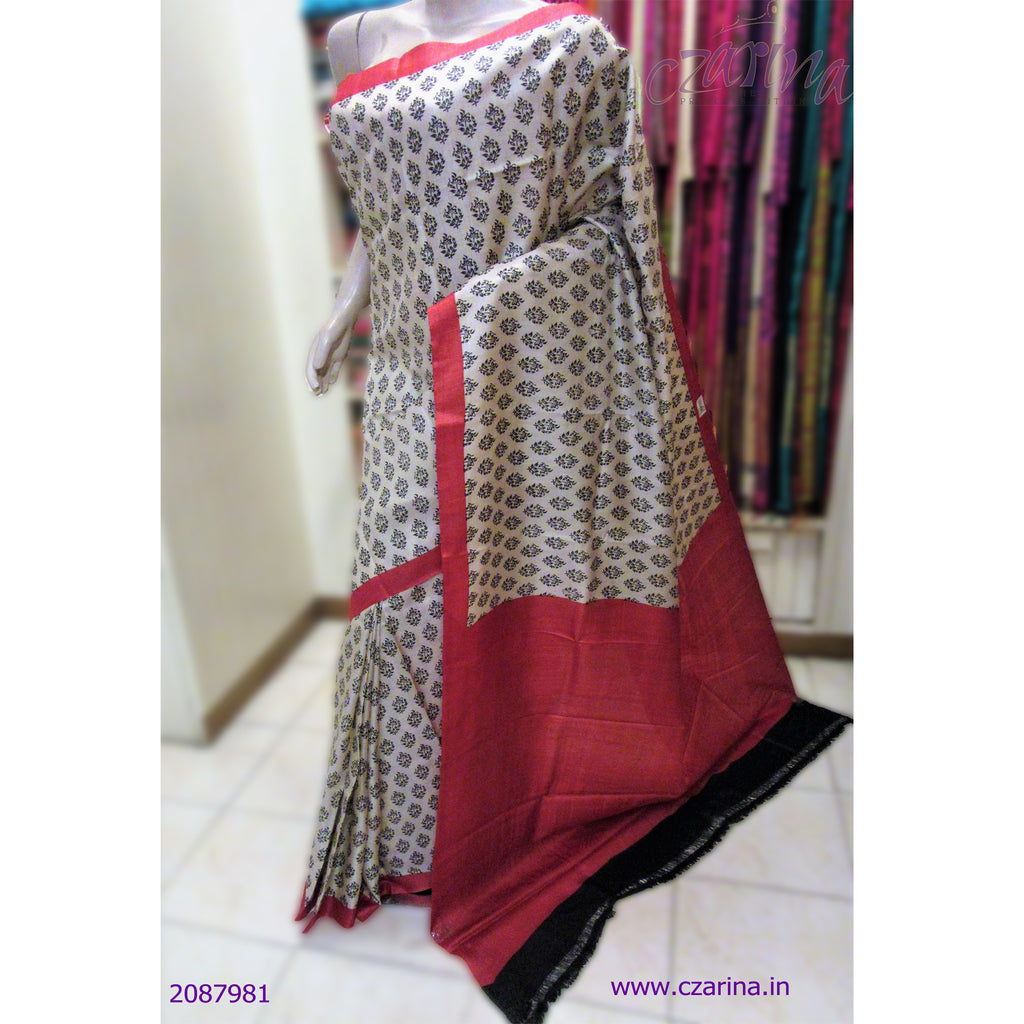 OFF WHITE BLACK TUSSAR SILK SAREE