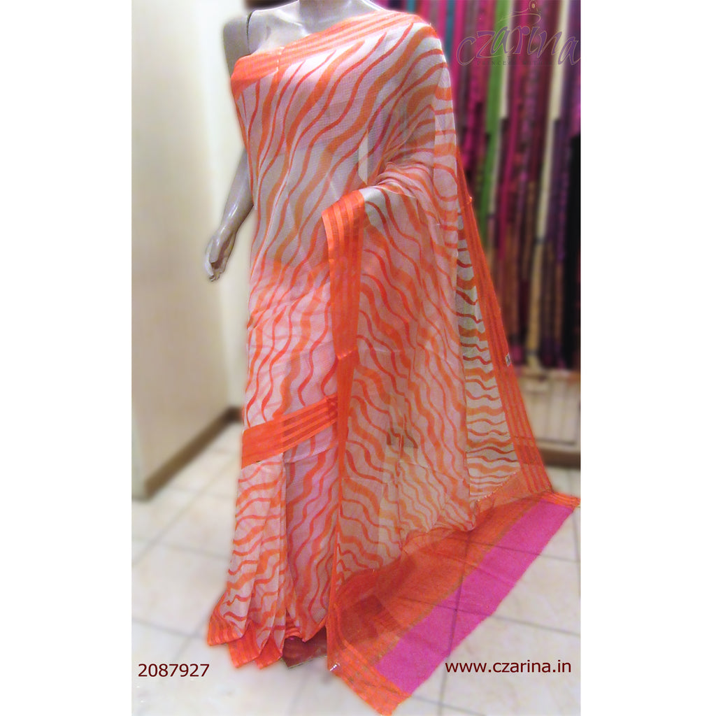 ORANGE WHITE SILKY KOTA SAREE