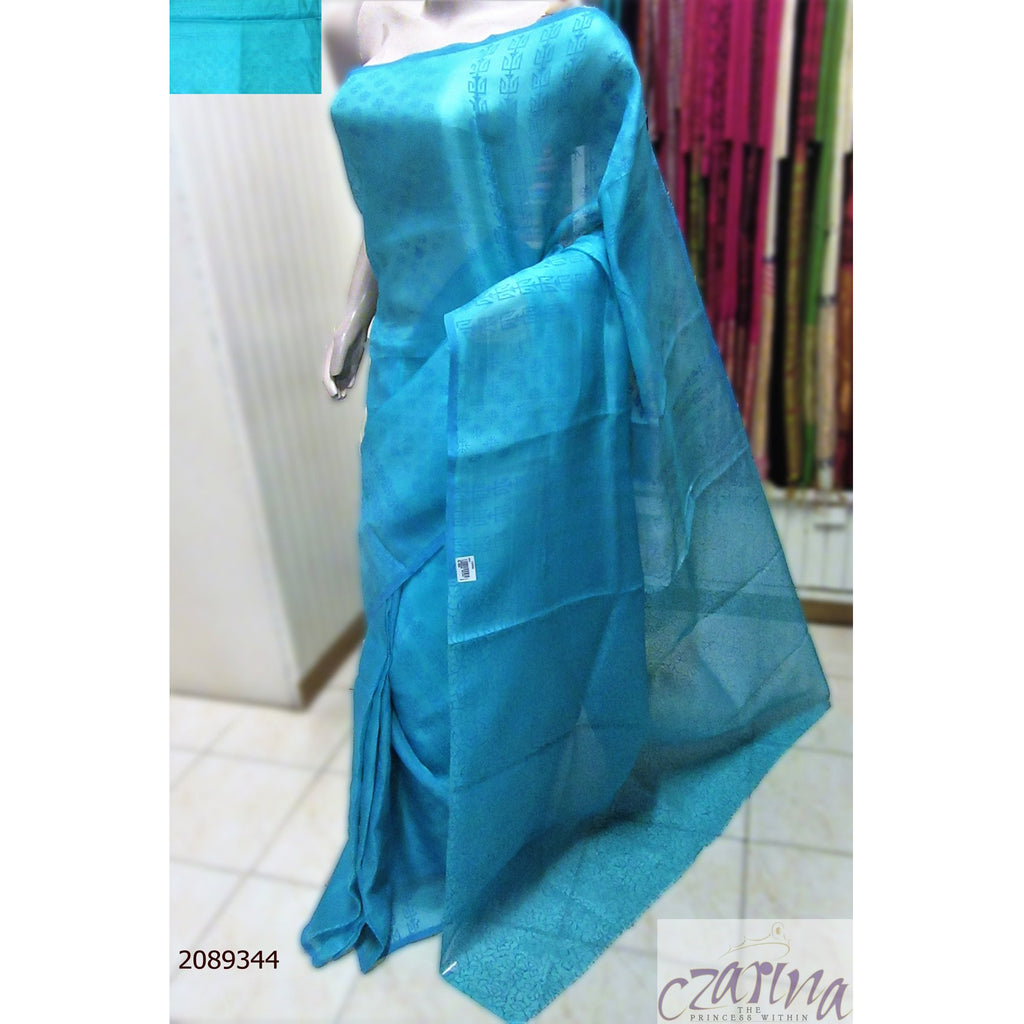 AQUA BLUE PRINTED ORGANZA SAREE
