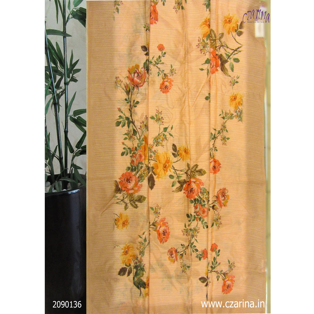 PEACH FLORAL PRINTED LINEN SAREE
