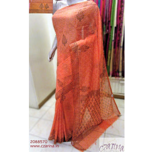 ORANGE CHICKEN WORK KOTA SAREE