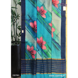 GREEN PINK BLUE PRINTED SILKY KOTA SAREE