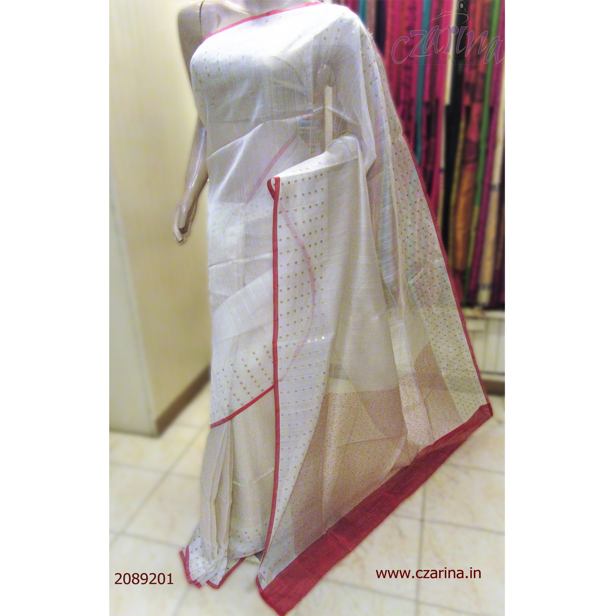 WHITE BAILOU SILK SAREE WITH ELEGANT RED BORDER SAREE