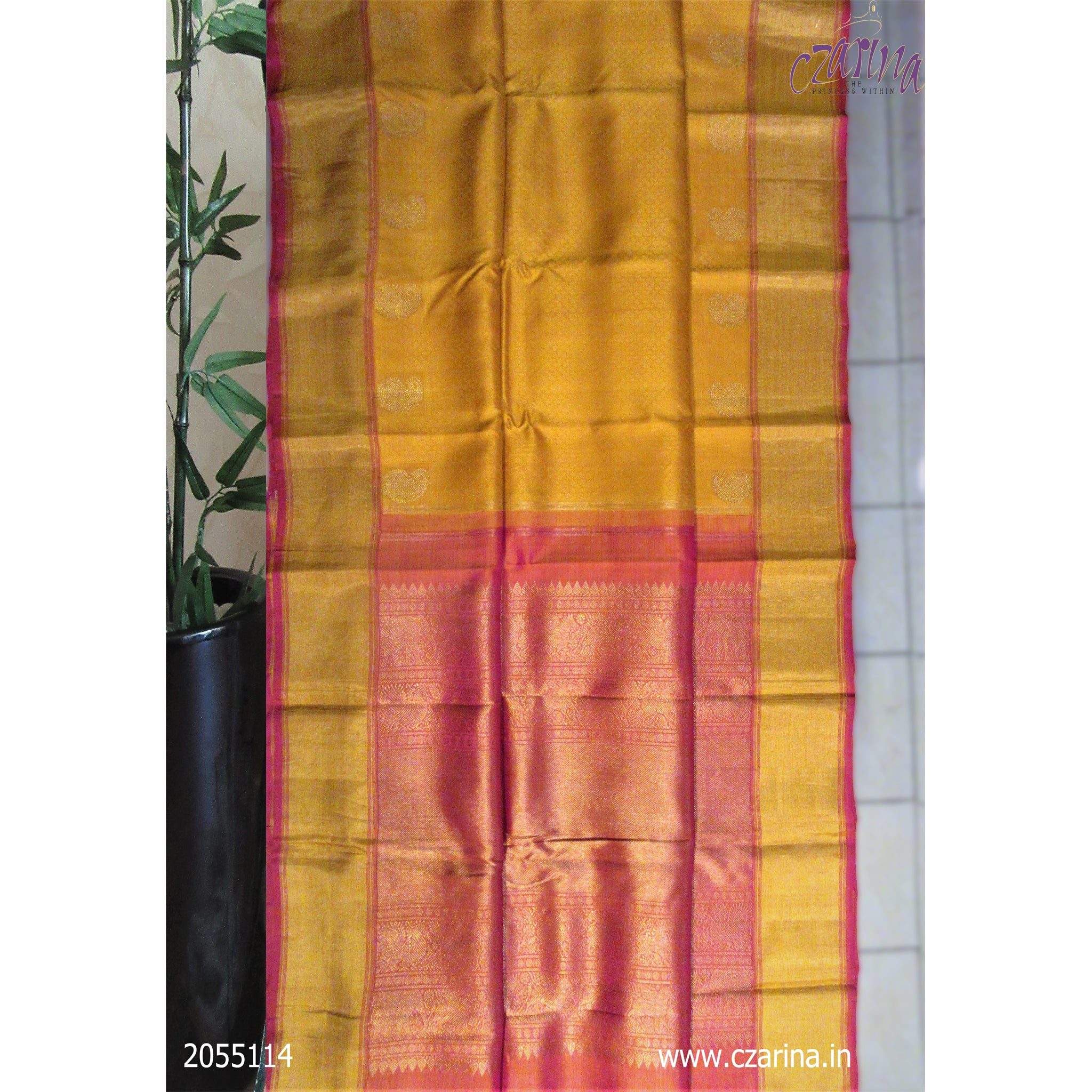 MUSTARD PINK PURE KANCHIPURAM SILK SAREE