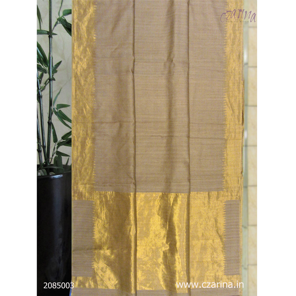 BEIGE GOLDEN TUSSAR SILK SAREE