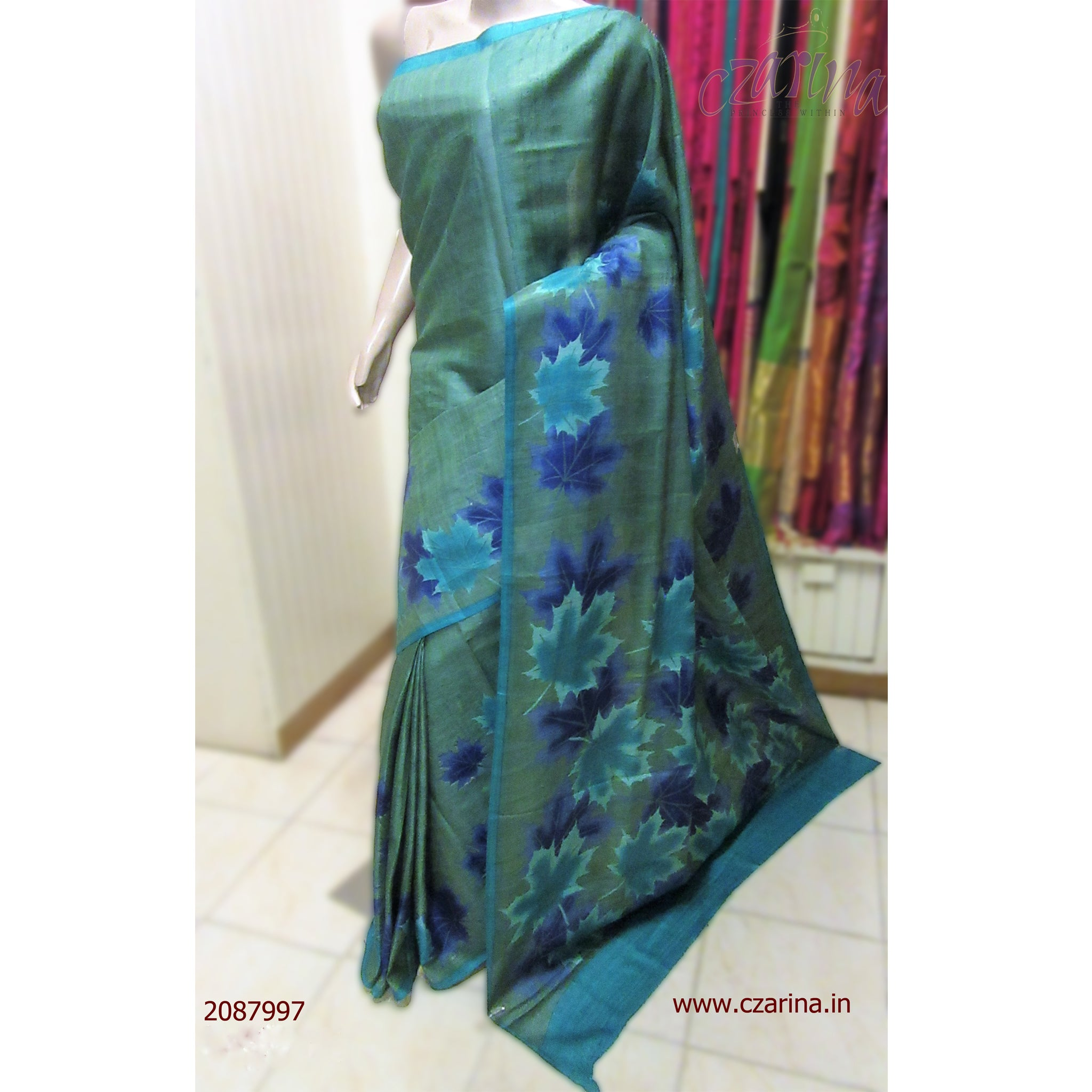 GREEN BLUE PRINTED TUSSAR SILK SAREE