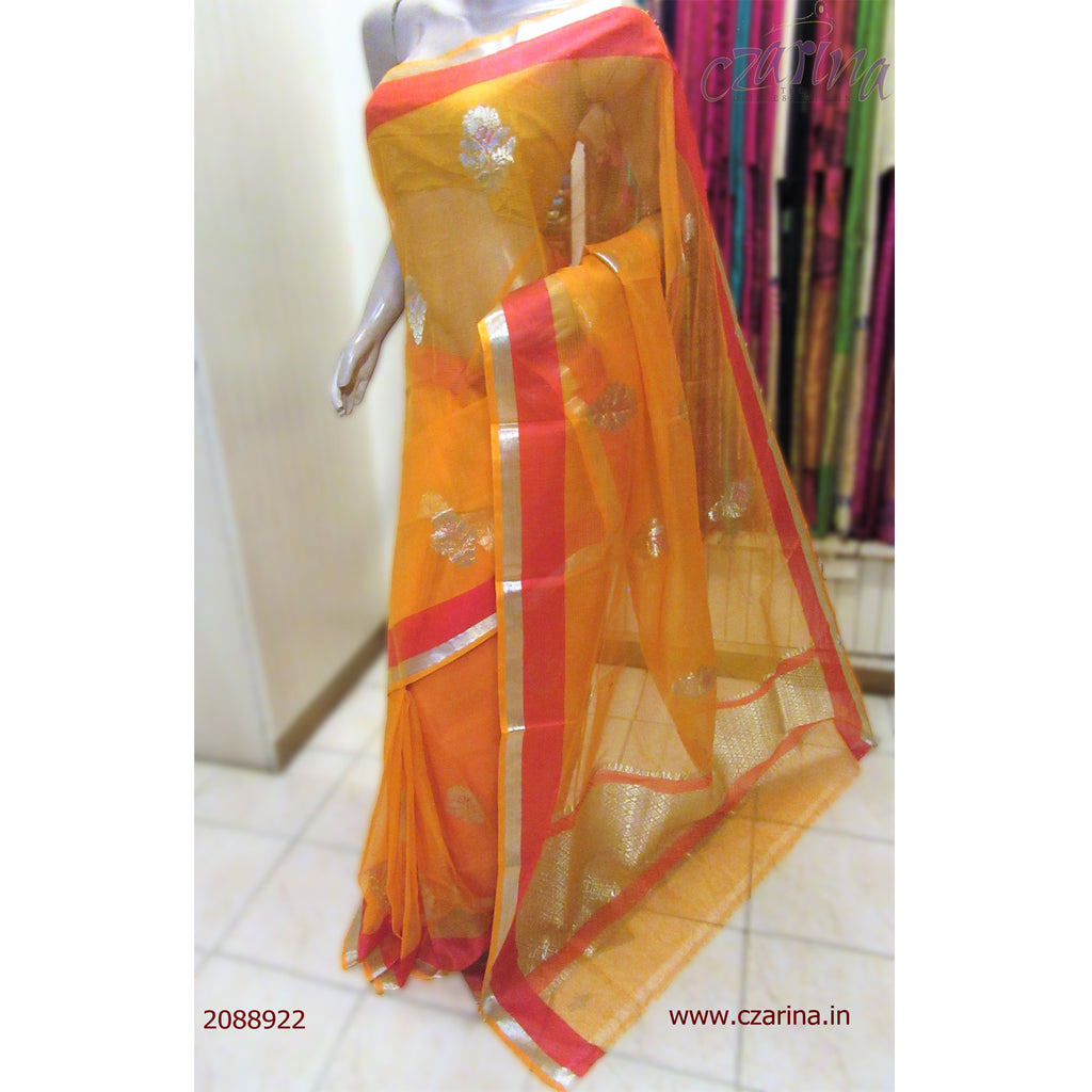 ORANGE RED EMBROIDERED PURE ZARI KOTA SAREE