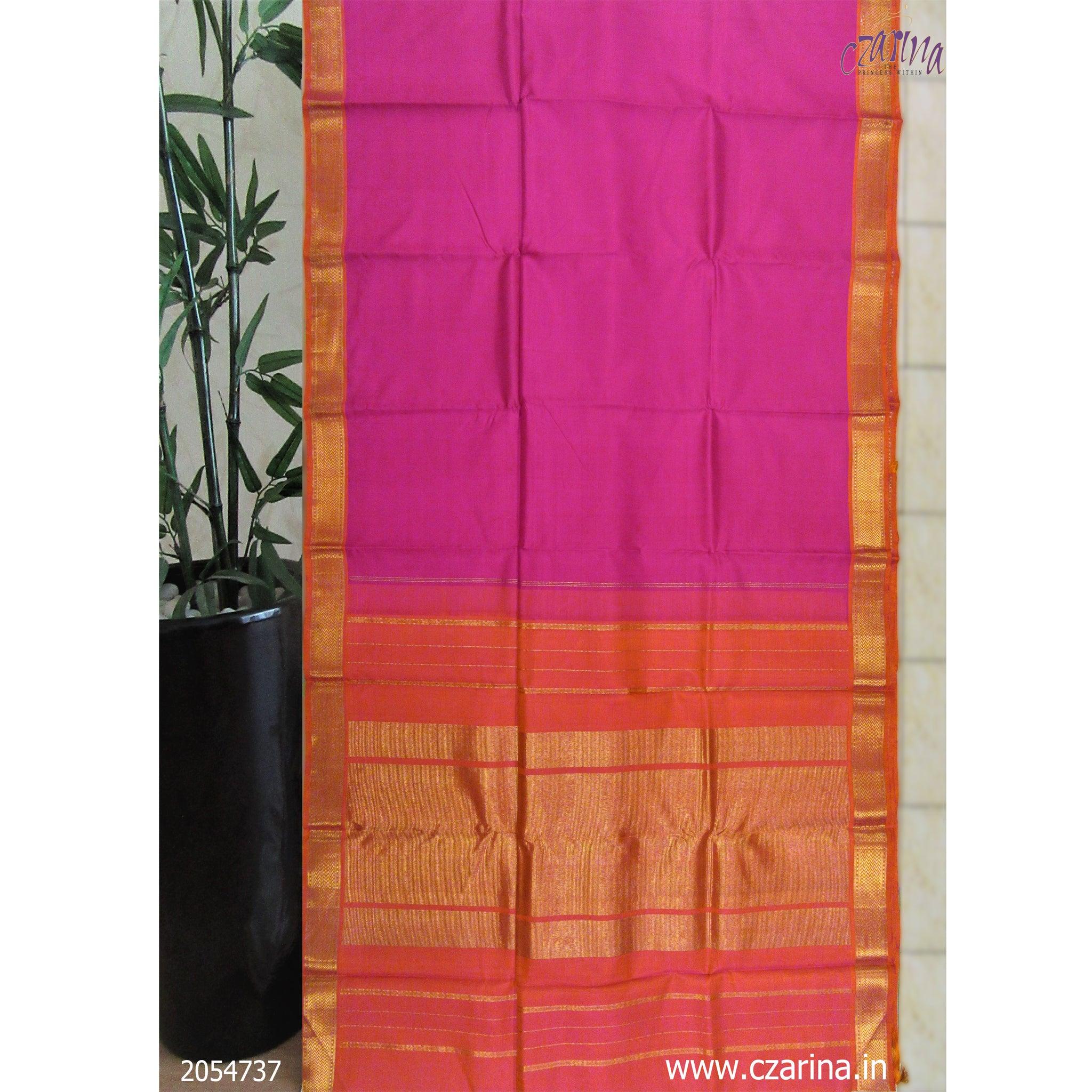 PINK ORANGE KANCHIPURAM SILK SAREE