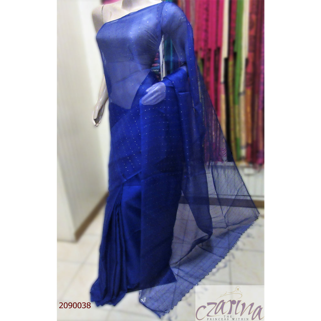 BLUE BAILOU SILK SAREE