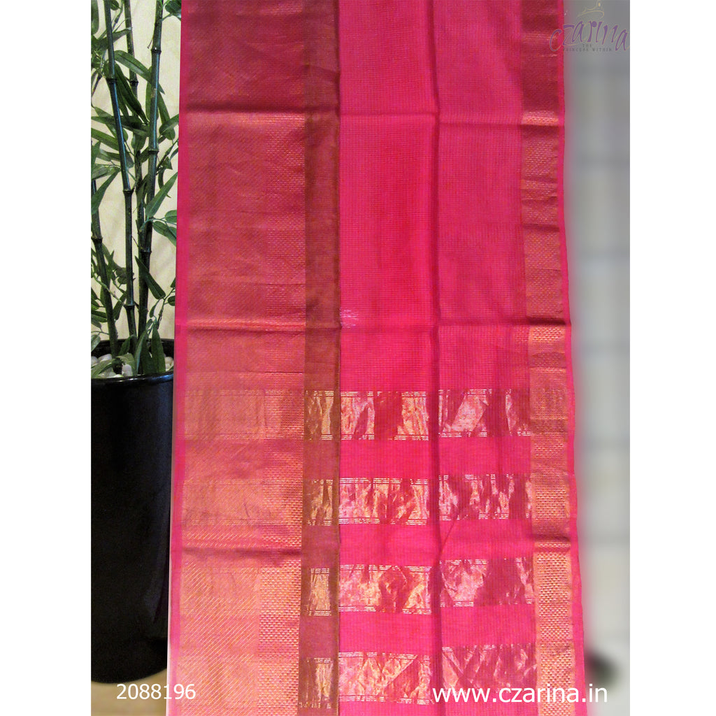 PINK GOLDEN MAHESHWARI SILK SAREE