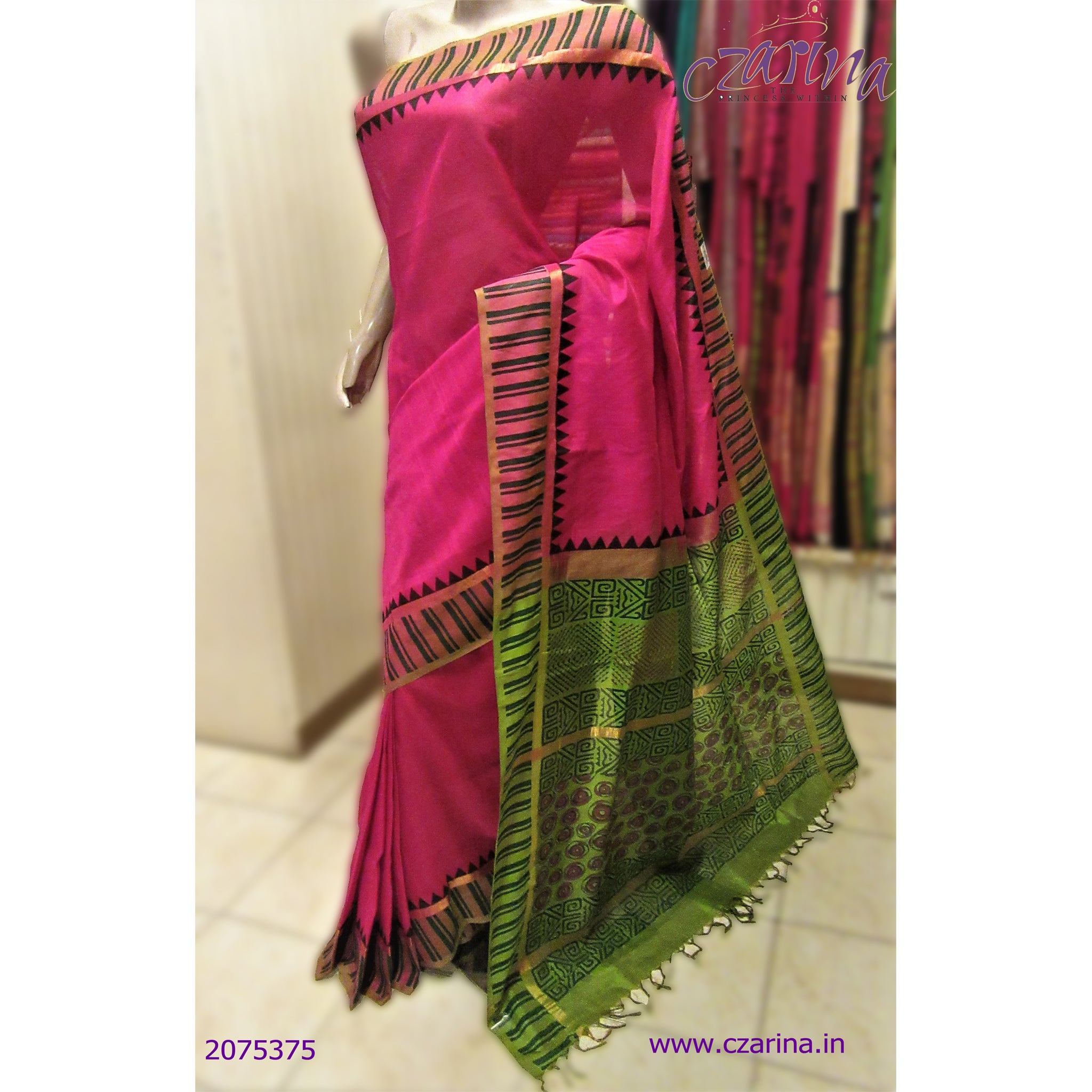 PINK GREEN SILK COTTON SAREE