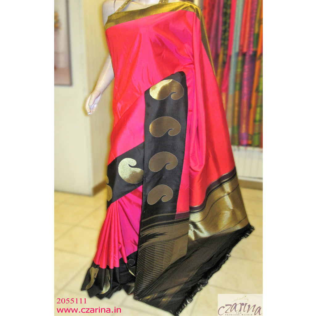 PINK BLACK GOLDEN KANCHIPURAM SILK SAREE