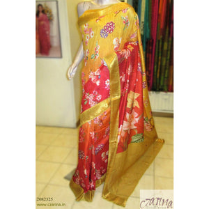 MUSTARD ORANGE RED PRINTED LINEN SAREE