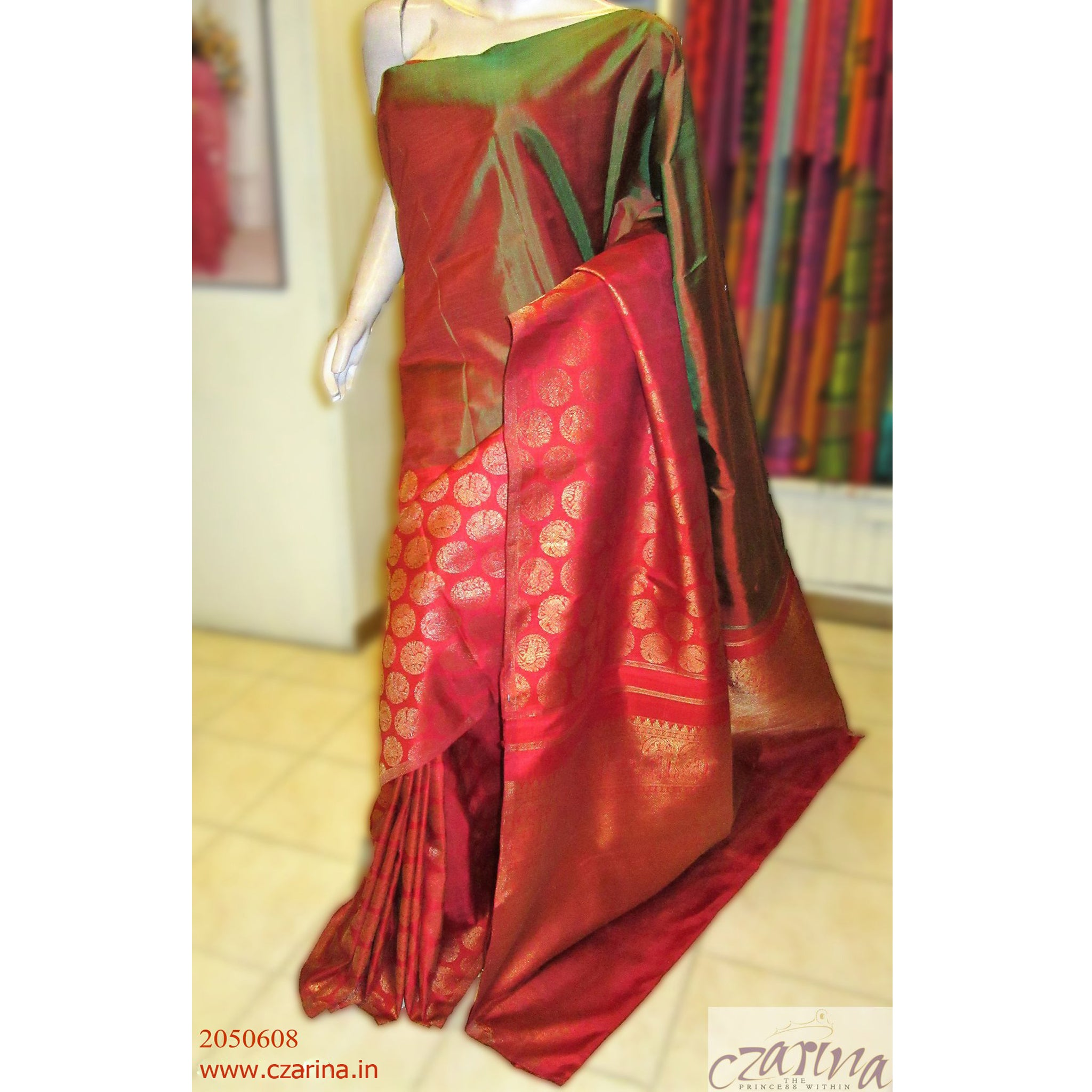 RED GREEN PURE KANCHIPURAM SILK SAREE
