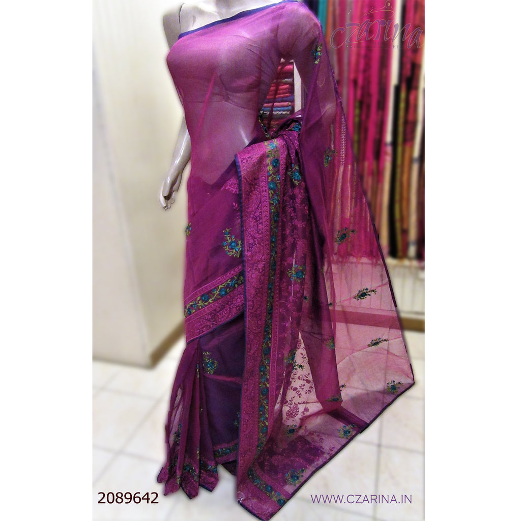 PURPLE GREEN EMBROIDERED KOTA SAREE