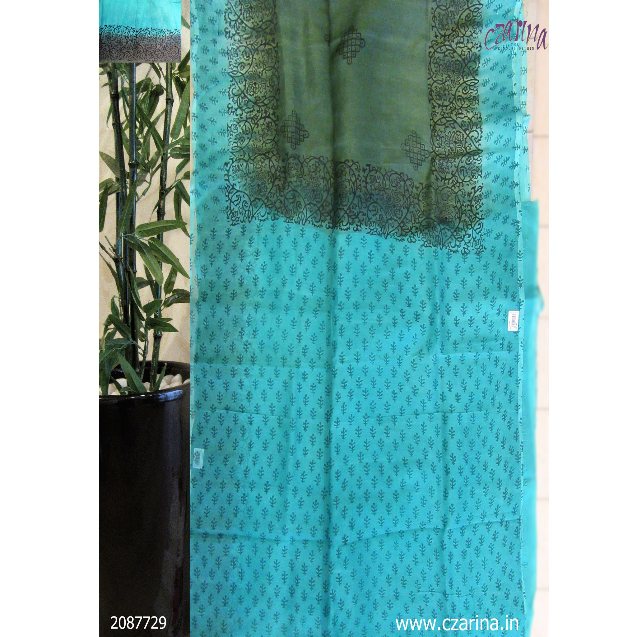 GREEN BLUE PRINTED KOTA SAREE
