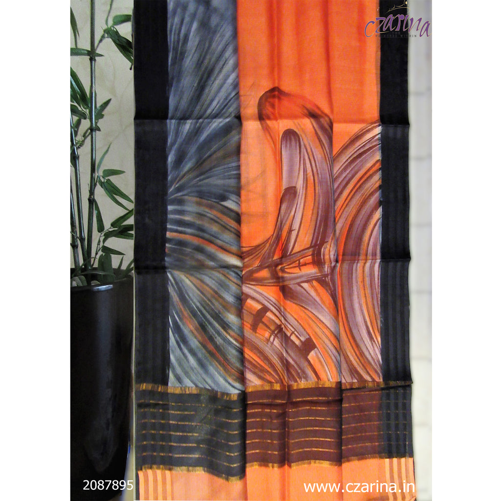ORANGE BLACK PRINTED SILKY KOTA SAREE