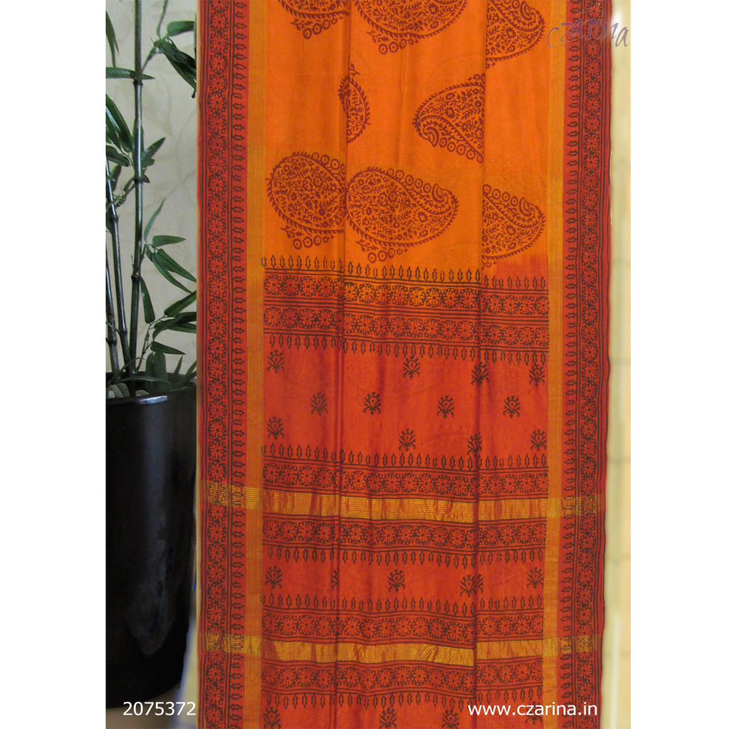 MUSTARD ORANGE PRINTED SILK COTTON SAREE